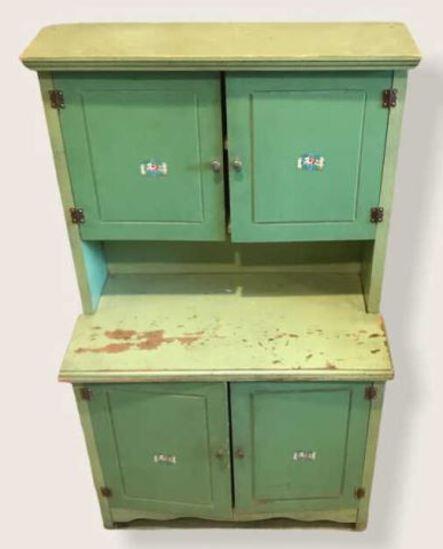 Vintage Child's Green Cupboard, 19 3/4'' W x 1