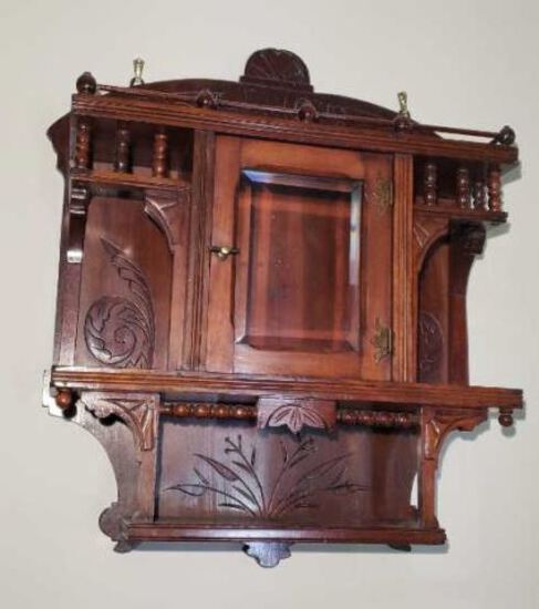 Victorian Wooden  Wall Shelf with Beveled