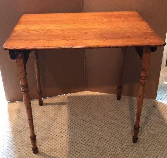"""Antique Oak Folding Table - 30"""" x 24"""", 27"""" H"""
