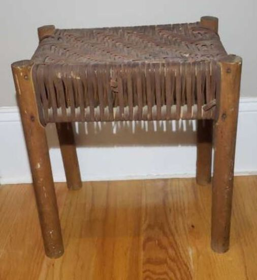 Primitive Stool with Woven Top, 16 5/8'' T x