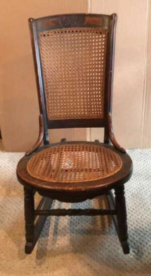 Antique Rocking Chairwith Cane Seat & Back