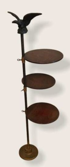 Antique Eagle Oak Stand with 3 Adj. Round