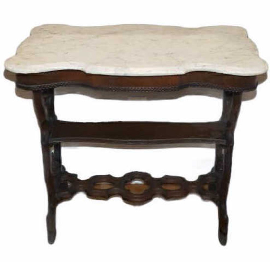 Antique Marble Top Table, Late 19th Century