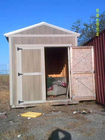 8X12 PORTABLE BUILDING WITH 2 FRONT DOORS, GRAY