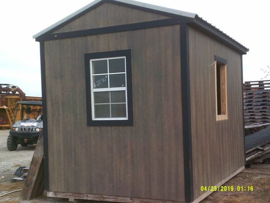 8X12 PORTABLE BUILDING WITH DOOR ON SIDE AND 2 WINDOWS