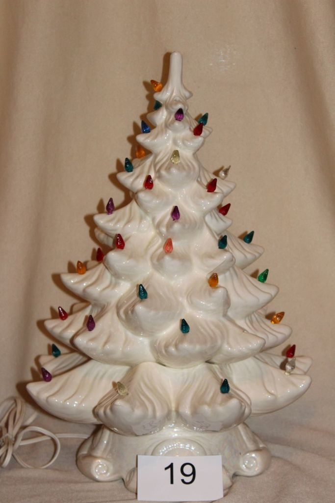 Vintage White Ceramic Christmas Tree.Vintage Large White Ceramic Christmas Tree Estate