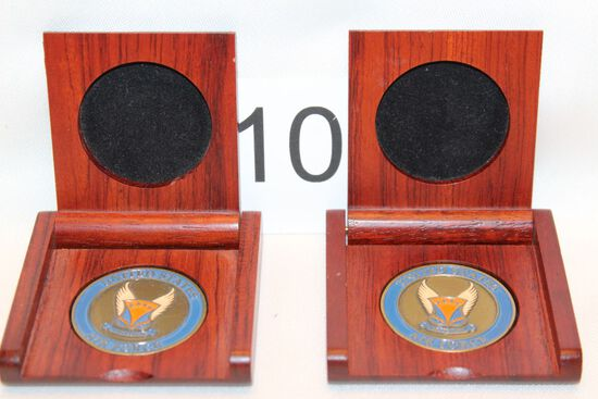 US Air Force Golden Anniversary Coins W/Solid Wood Presentation Boxes