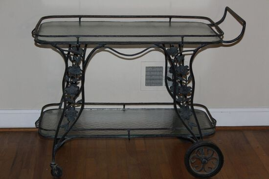Large Wrought Iron Serving Cart On Wheels