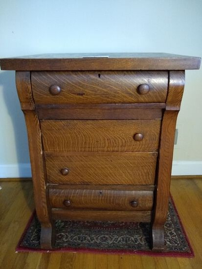 Antique Tiger Oak 4 Drawer Chest