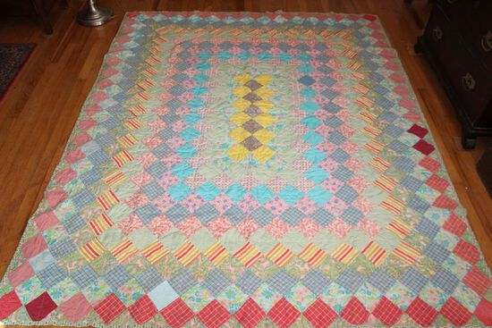 Vintage Hand Stitched Reversible Multi-Color Patchwork Quilt