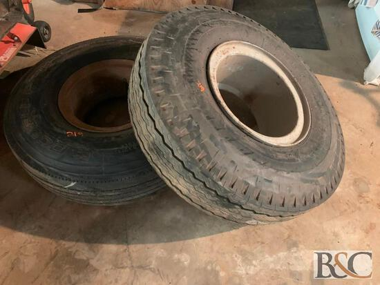(2) Like New 10.00-15 Trailer Tires with ring