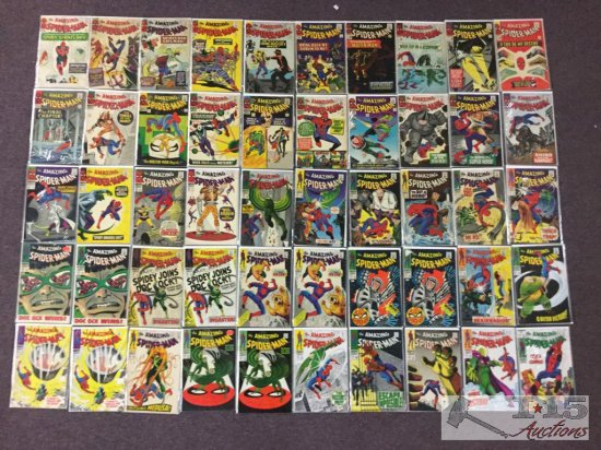 1st Series Marvel.. The Amazing Spider-Man Approximately 50 Comic Books No. 19 to No. 68 Not