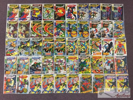 1st Series Marvel.. The Amazing Spider-Man Approximately 50 Comic Books No. 69-102 Not Consecutive