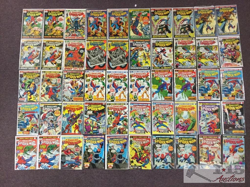 1st Series Marvel.. The Amazing Spider-Man Approximately 50 Comic Books No. 104-153 Not Consecutive