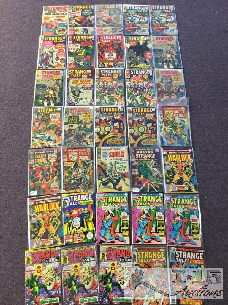 Marvel.. 35 Copies of Strange Tales Issues No. 125-186 Not Consecutive