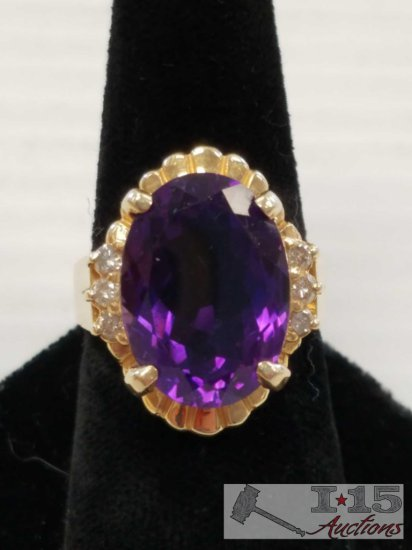 14 kt Gold Amethyst and Diamond Ring Size 8.5