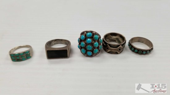 5 Rings, 3 with Turquoise Stones. All Appear to be Silver