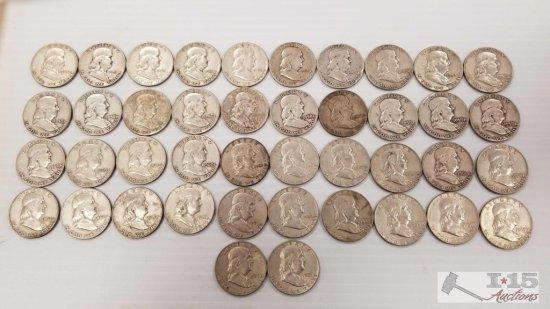 42 Silver Ben Franklin Half Dollars