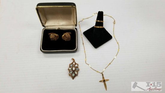 Misc. Gold Jewelry, Earrings, Rings, Pendant, and Necklace