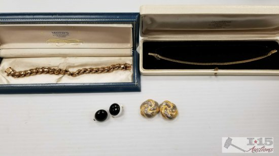 1 Pin, 2 Bracelets 1 Marked 14k gold and 2 Pairs of Earrings
