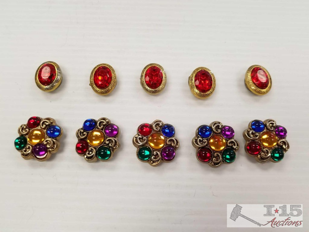Two sets of costume jewelry button covers