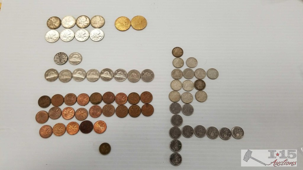 Misc. Canadian and other Foreign Coins. Dollars, Quarters, Dimes, Nickels, and Pennies