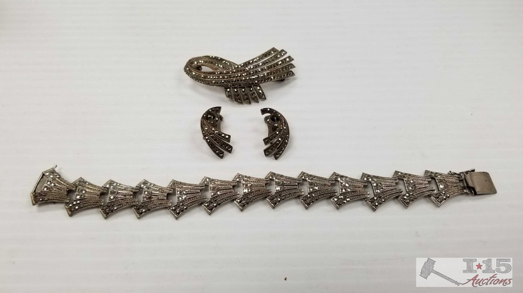 Matching Sterling Silver Bracelet, Earring, and Pin