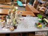 Glassware, figurines, glass fruit and vegetables, plates, pottery