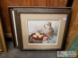 Three framed and matted prints fruit, pewter pitcher, girl praying