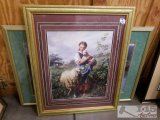 Two framed and matted prints women picking flowers and girl with sheep