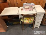 White sewing machine and chair