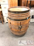 Barrell liquor cabinet on wheels