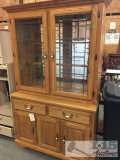 Solid oak China hutch with Lighting