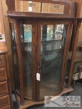 Oak China display curio cabinet with curved glass