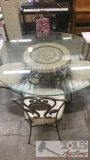 Dining Table With Glass Top and 4 Chairs