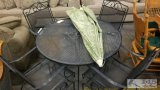 Outdoor Metal Patio Table with 4 Chairs and Umbrella