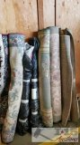 5 Misc Rugs and 2 Rolls of Fabric