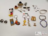 Costume jewelry, hair clips, rings, Disney, Warner Brothers