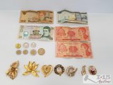 Brooches and Honduras currency and Mexican coins
