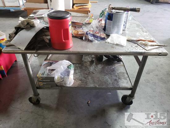 Metal Desk on wheels