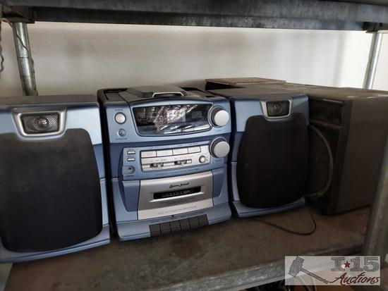 3 boomboxes, 2 have CD and Cassette Players