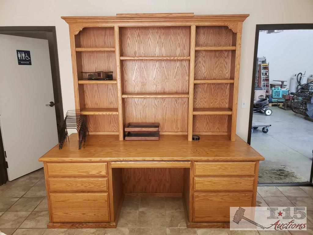 A desk, 2 Hutches, 2 Chairs, Credenza and a Cabinet
