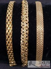 3 Gold Bracelets Marked 14k Italy. 1 Vior
