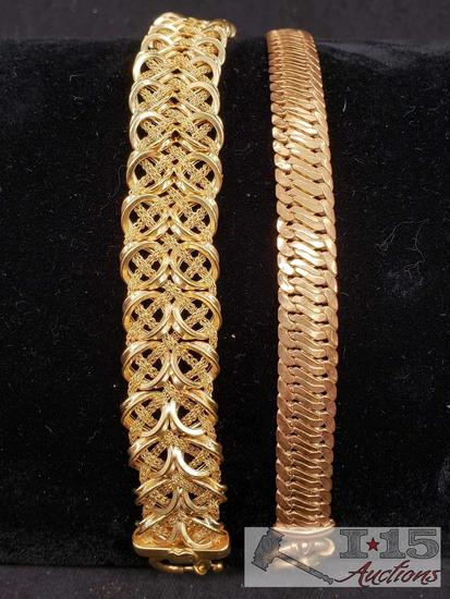 2 Gold Bracelets Marked 14k
