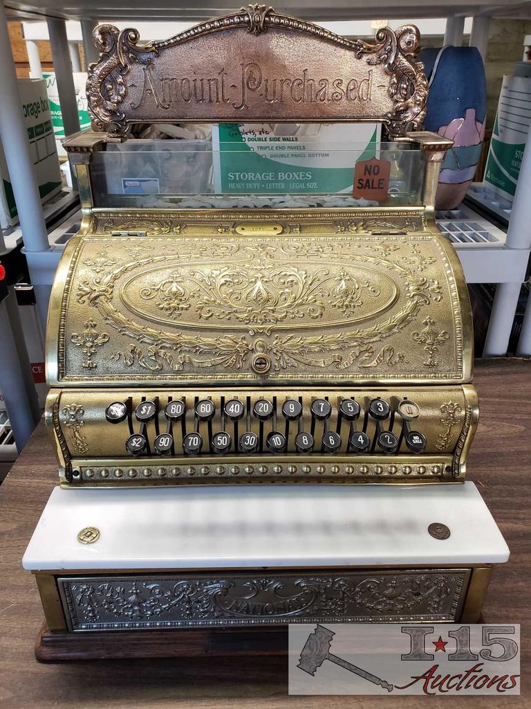 Lot: Brass National Cash Register Rebuilt by Remington Cash Register