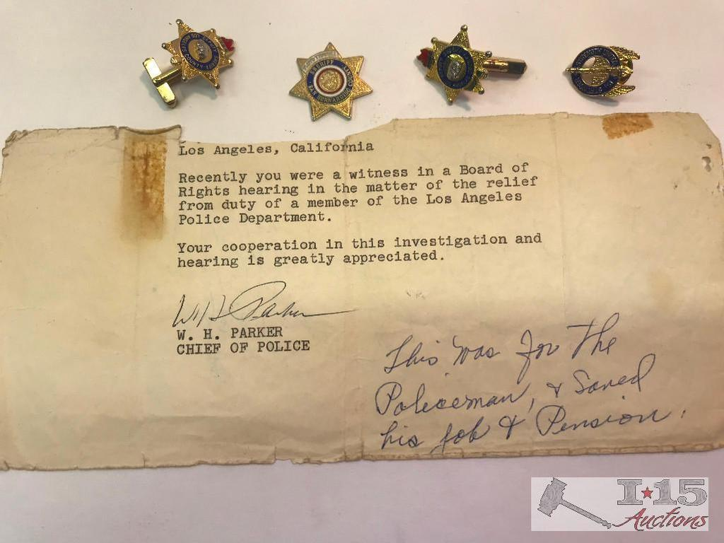 Lot: LAPD Chief Larry Parker Signed Letter, Sheriff Floyd