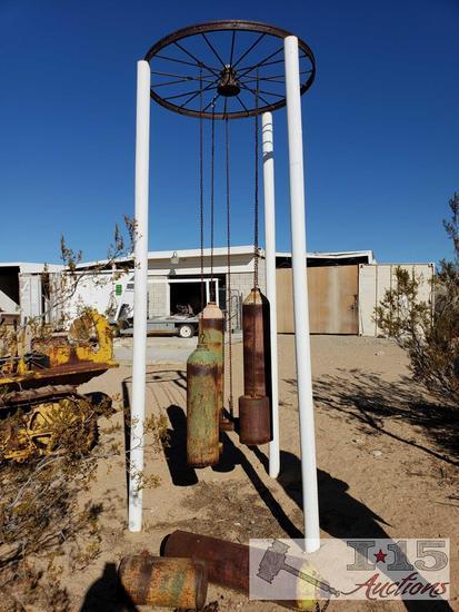 Custom Wind Chime with Wagon Wheel and Tanks