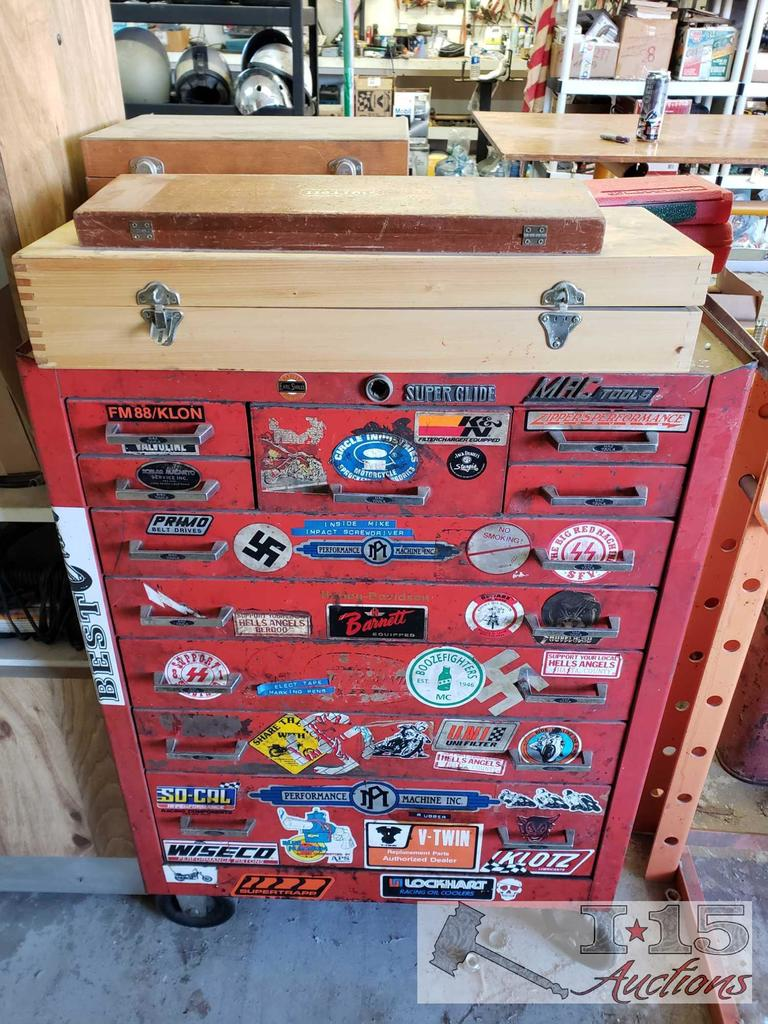 Mac Tools Tool Box with Micrometers/Calipers and Other Tools