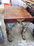 End Table with Jeans and Boots