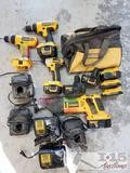 DeWalt Screw Gun, 2 Drills, Reciprocating Saw, Bag, 8 Batteries, and 4 Chargers